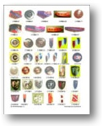 page full of car emblems from our color catalog